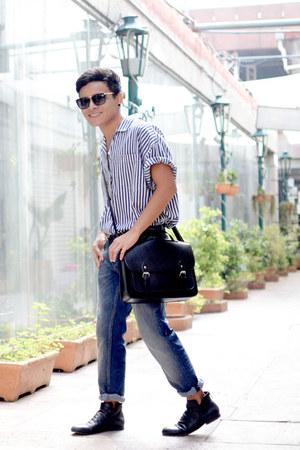 striped vintage shirt - Zara boots - MQT jeans jeans - Bershka bag