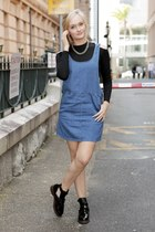 black asos boots - blue asos dress - black Glamorous top