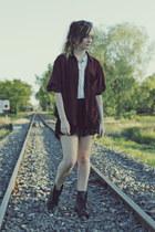 black Roc boots - maroon Urban Outfitters shirt - black sabo skirt shorts