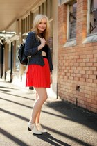navy A Ware jacket - white Senso boots - black Glamorous top - red Beloved skirt