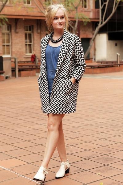 white Senso boots - blue asos dress - black asos coat