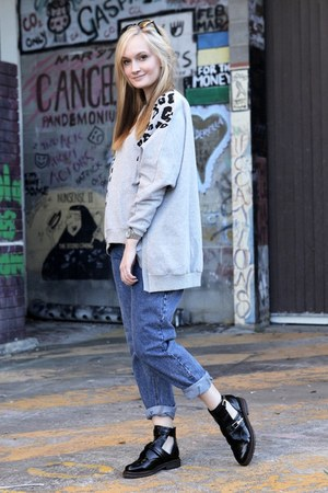 black asos boots - blue asos jeans - heather gray Arrogant Cat jumper