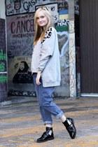 black asos boots - blue asos jeans - heather gray Arrogant Cat jumper