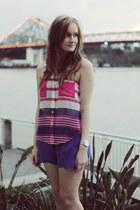 hot pink Paper Heart top - blue Mossman shorts - silver Michael Kors watch