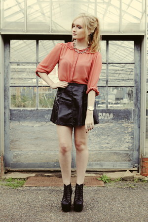 coral bardot blouse - black Ally skirt - silver asos necklace