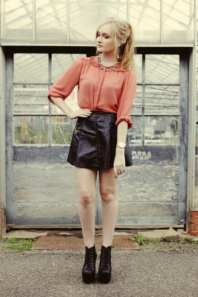 coral bardot blouse - black Ally skirt - silver asos necklace