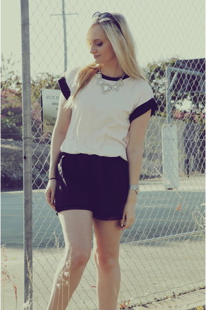 black chicabooti shorts - white Millie Loves Min t-shirt