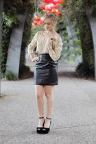 light yellow Mink Pink jumper - black vintage skirt