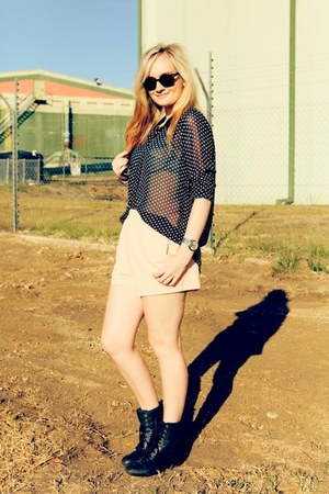 black Roc boots - black Kmart shirt - peach sabo skirt shorts