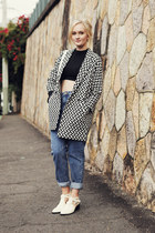 white asos coat - ivory Senso boots - blue asos jeans - black Glamorous top