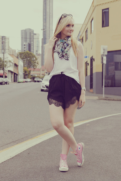 black One Way shorts - white Miss Shop top - bubble gum Converse sneakers