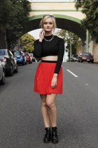 black asos boots - red Beloved skirt - black Glamorous top