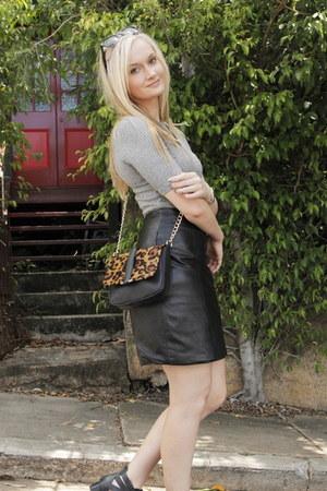 heather gray asos top - black vintage skirt
