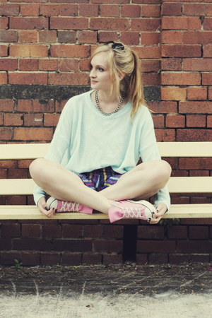 light blue Ally sweater - navy Charcoal shorts - bubble gum Converse sneakers