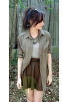 dark brown snakeskin Angel & Belle skirt - army green button up Foxx Foe shirt