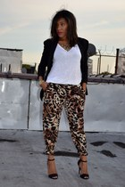 leopard print Zara pants - H&M blazer - silk eileen fisher top