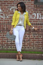 gold H & M blazer - orange Zara shoes - ivory H & M jeans