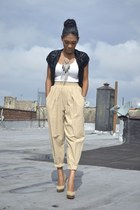 black sequins H&M jacket - dark khaki highwaisted vintage pants