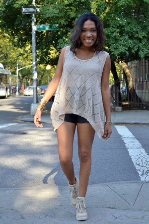 camel crochet top - black leather shorts - camel wedge sneakers