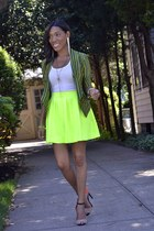 yellow neon lulus skirt - green stripe unknown blazer