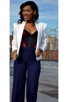 brick red romantic bodysuit - white blazer - navy high waisted pants