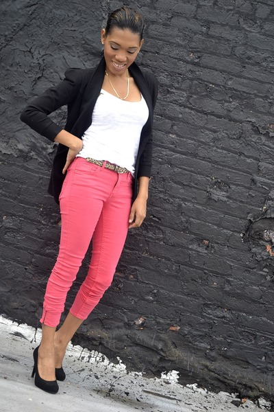 black blazer - hot pink jeans - bronze belt