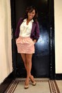 Maroon-blazer-bubble-gum-brocade-skirt-ivory-sheer-top-camel-pumps-heels