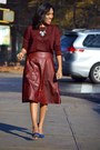 Navy-suede-aldos-shoes-crimson-midi-forever-21-skirt