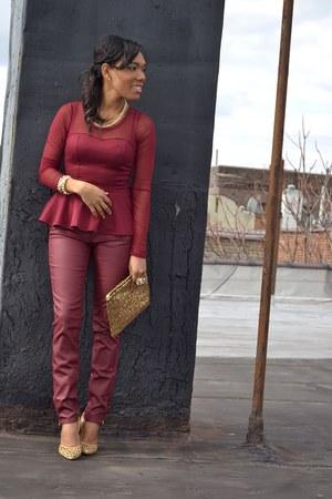 crimson leather jeans - crimson peplum top