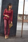 Crimson-leather-jeans-crimson-peplum-top