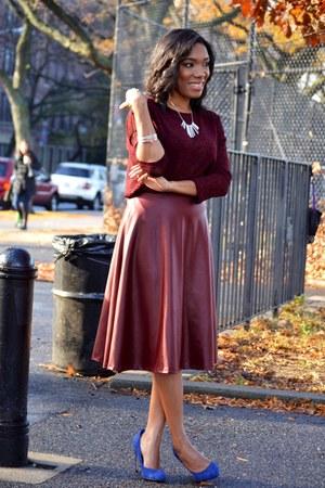 crimson midi Forever 21 skirt - navy suede aldos shoes