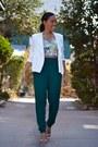 White-zip-unknown-blazer-nude-strap-zara-sandals-green-peg-asos-pants