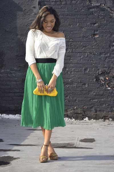 crochet Old Navy top - pleated Forever 21 skirt - buckled coach sandals