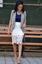 white lace cutout Dailylook skirt - silver ankle strap Zara shoes