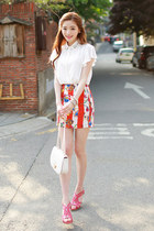 red skirt JAMYBongjashop skirt - white shirt JAMYBongjashop shirt