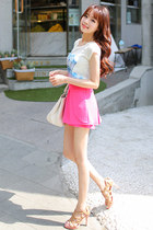 white tshirt JAMYBongjashop t-shirt - hot pink pants skirt JAMYBongjashop pants