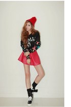 red skirt JAMYIampretty skirt - black t-shirt JAMYIampretty t-shirt