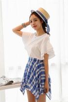white tshirt JAMYTomnrabbit t-shirt - sky blue JAMYTomnrabbit skirt