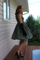 green homemade dress - black Spring shoes - black gloves - black purse - cardiga