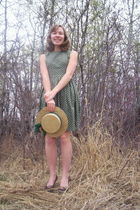 green homemade dress - gold hat - brown George shoes