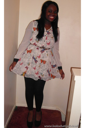 black H&amp;M wedges - white floral Matalan dress - black Primark leggings