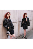 black filip roth jacket - black Parfois bag - black Zara sandals