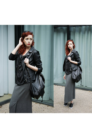black River Island jacket - black River Island bag - charcoal gray vintage skirt