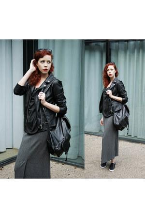 black River Island jacket - black River Island bag - charcoal gray vintage skirt