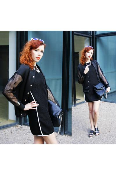 black blackfive dress - black Front Row Shop jacket - black Parfois bag