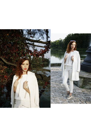 white Zara coat - white Zara top - white Zara pants - white H&M Trend sneakers