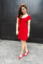 red dress - red patent heels