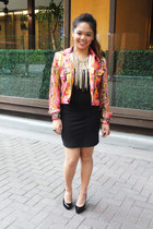 reptile print jacket - skirt - fringe necklace