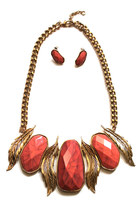 Vintage LEAF BOLD STATEMENT Necklace Earring Set