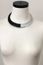 COLORBLOCK CHOKER Bold Statement Necklace SET- Black/Silver